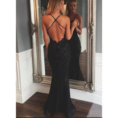 Simple Trumpet/Mermaid V-neck Lace Evening Dresses Sleeveless (017145549)