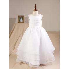 Ball Gown Floor-length Flower Girl Dress - Organza Sleeveless Scoop Neck With Beading