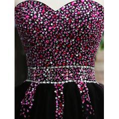 Brodé Forme Princesse Court/Mini Tulle Robes de soirée étudiante (022216254)