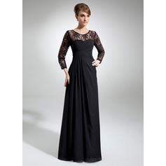 A-Line/Princess Scoop Neck Chiffon Lace Long Sleeves Floor-Length Ruffle Mother of the Bride Dresses