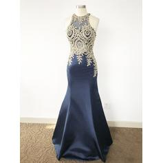 Satin Scoop Neck Trumpet/Mermaid Luxurious Prom Dresses (018210304)