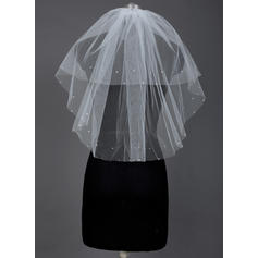 Elbow Bridal Veils Tulle Two-tier Classic With Cut Edge Wedding Veils