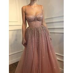 Tulle Sleeveless A-Line/Princess Prom Dresses Sweetheart Beading Floor-Length