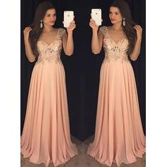Elegant Chiffon Evening Dresses A-Line/Princess Floor-Length V-neck Sleeveless