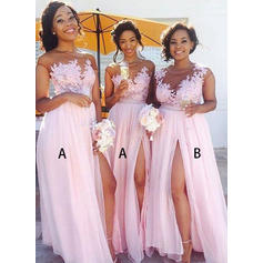A-Line/Princess Scoop Neck Floor-Length Bridesmaid Dresses With Split Front