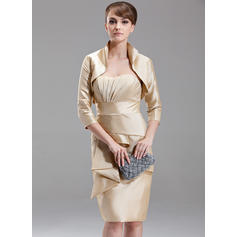 Sheath/Column Sweetheart Knee-Length Mother of the Bride Dresses With Cascading Ruffles