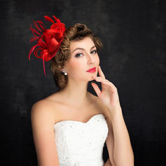 Feather/Linen With Feather Fascinators Charming Ladies' Hats