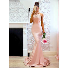 Jersey Sleeveless Trumpet/Mermaid Prom Dresses Halter Lace Sweep Train