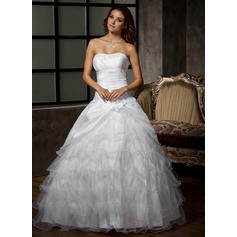 Ball-Gown Floor-Length Wedding Dress With Flower(s) Cascading Ruffles