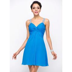 Pregueado Beading lantejoulas Vestidos princesa/ Formato A Amada Tecido de seda Vestidos de cocktail (016055929)