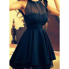 A-Line/Princess Scoop Neck Chiffon Sleeveless Short/Mini Homecoming Dresses