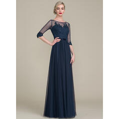 Vestidos princesa/ Formato A Decote redondo Longos Tule Renda Vestido para a mãe da noiva (008118043)