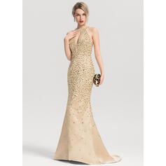 Trumpet/Mermaid Scoop Neck Sweep Train Satin Prom Dresses With Beading Sequins (018163279)