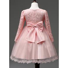 Vestidos princesa/ Formato A Coquetel Vestidos de Menina das Flores - Combinação de algodão Manga comprida Decote redondo com Renda (010087483)