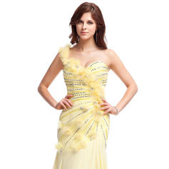 Gasa Chic Corte A/Princesa Hasta el suelo Vestidos de baile de promoción (018025283)