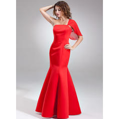 One-Shoulder Floor-Length Satin Beautiful Bridesmaid Dresses (007197326)