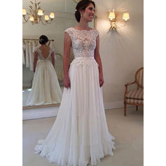 Simple Sweep Train A-Line/Princess Wedding Dresses Square Chiffon Sleeveless
