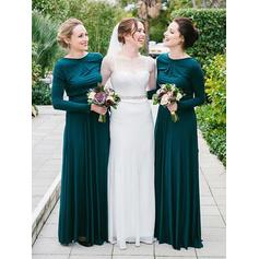Scoop Neck General Plus A-Line/Princess Jersey Long Sleeves Bridesmaid Dresses (007145010)