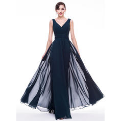 A-Line/Princess Chiffon Prom Dresses Ruffle V-neck Sleeveless Floor-Length (018070251)