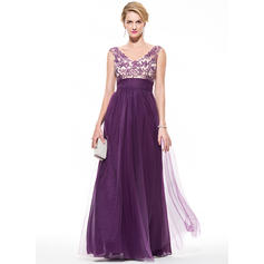 Tulle Sleeveless Floor-Length - Empire Prom Dresses