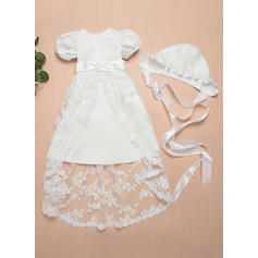 A-Line/Princess Scoop Neck Ankle-length Satin Lace Christening Gowns