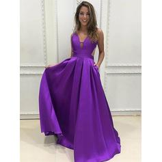 A-Line/Princess V-neck Floor-Length Satin Evening Dresses With Ruffle