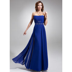 Strapless Floor-Length Chiffon Flattering Bridesmaid Dresses (007197701)