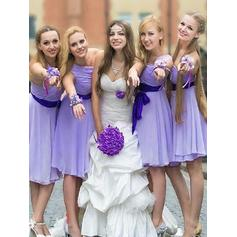 A-Line/Princess One-Shoulder Knee-Length Bridesmaid Dresses With Sash