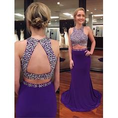 Sheath/Column Scoop Neck Sweep Train Prom Dresses With Beading (018218113)