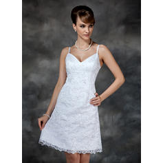 Glamorous Knee-Length Sheath/Column Wedding Dresses Sweetheart Lace Sleeveless