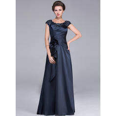 A-Line/Princess Charmeuse Sleeveless Scoop Neck Sweep Train Zipper Up Mother of the Bride Dresses