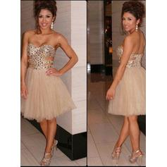 A-Line/Princess Sweetheart Knee-Length Tulle Homecoming Dresses (022212315)
