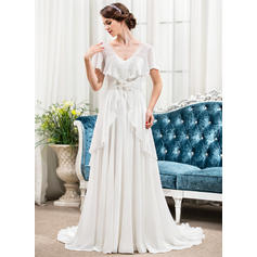 2019 New Sweep Train A-Line/Princess Wedding Dresses Sweetheart Chiffon Short Sleeves