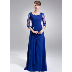 A-Line/Princess Chiffon 3/4 Sleeves Square Neckline Sweep Train Zipper Up Mother of the Bride Dresses (008006306)