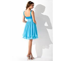 Mousseline Pailleté Bretelles classiques Forme Princesse Amoureux Robes de soirée étudiante (022214134)