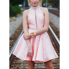 Beading Vestidos princesa/ Formato A Curto/Mini Cetim Vestidos de boas vindas (022216356)