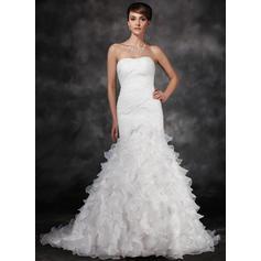 Trumpet/Mermaid Sweetheart Court Train Satin Organza Wedding Dress With Ruffle Cascading Ruffles