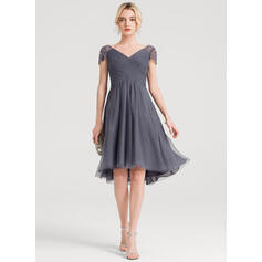 A-Line V-neck Asymmetrical Tulle Cocktail Dress With Ruffle Beading (016150445)