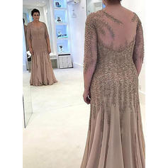 A-Line/Princess Scoop Neck Chiffon 3/4 Sleeves Floor-Length Beading Appliques Lace Mother of the Bride Dresses