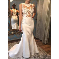 Sleeveless Court Train Satin Trumpet/Mermaid Wedding Dresses