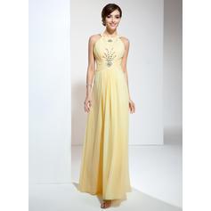 Chiffon Sleeveless A-Line/Princess Prom Dresses Halter Ruffle Beading Floor-Length