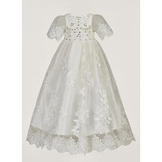 A-Line/Princess Scoop Neck Floor-length Tulle Christening Gowns With Beading Flower(s) (2001216846)