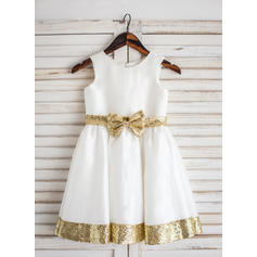 Sexy Scoop Neck A-Line/Princess Flower Girl Dresses Tea-length Taffeta Sleeveless