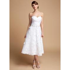 1484396c0ff4 Increspature Perline Fiori Paillettes Senza maniche Scollo a cuore Del  organza Pizzo A-Line   abiti da sposa linea ball gown ...