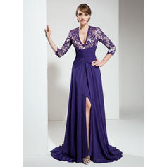 Hermoso Escote en V Corte A/Princesa Gasa Encaje Vestidos de madrina (008211206)