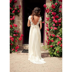 Luxurious Sweep Train A-Line/Princess Wedding Dresses V-neck Tulle Short Sleeves