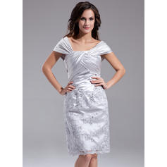 Sheath/Column Charmeuse Sleeveless Off-the-Shoulder Knee-Length Zipper Up Mother of the Bride Dresses