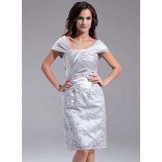Moderno Fuera del hombro Vestido tubo Charmeuse Vestidos de madrina