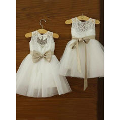 Chic Knee-length A-Line/Princess Flower Girl Dresses Scoop Neck Tulle/Lace Sleeveless