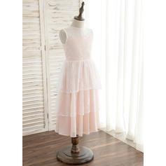 Forme Princesse Longueur mollet Robes à Fleurs pour Filles - Mousseline/Dentelle Sans manches Col rond (010148808)